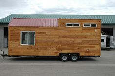 Tiny Idahomes 26' cedar lap side base model. This model features an 8' loft and a second 2' loft for storage area, the stairwell is also doubles as closet/storage space.