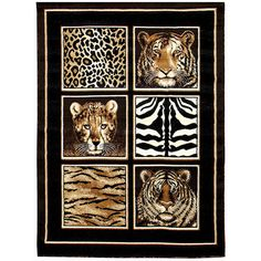 Make your dwelling more colorful by selecting this Skinz Animal Skin Print Design Black Indoor Area Rug from DonnieAnn. Comes with polypropylene. Tiger Skin, Discount Rugs, Black Animals, Online Home Decor Stores, Exotic Pets, Throw Rugs, White Patterns, Color Show, Colorful Rugs