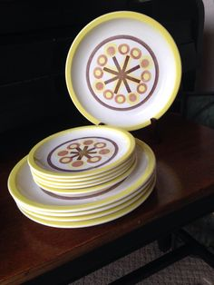 Pinwheel Ironstone Plates - 5 dinner and 5 dessert/bread plates cream yellow briwn tan beige orange   Mid Century Atomic Retro by shhhitsvintage on Etsy https://www.etsy.com/listing/399431831/pinwheel-ironstone-plates-5-dinner-and-5