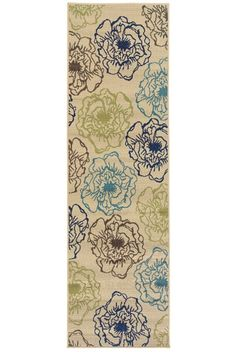 Oriental Weavers Sphinx Caspian 3065Y Ivory / Green Runner indoor-outdoor, with shades of indigo and Mediterranean blue and bright lime green.