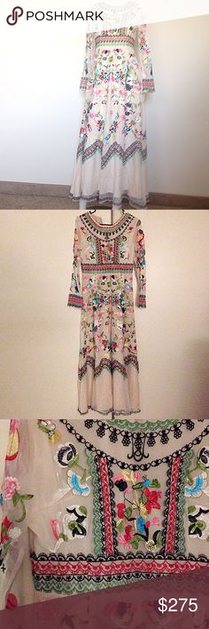 Embroidered boho gown Beautiful intricate embroidered detailing designed to make you feel and look like a bohemian goddess. Tag reads medium but I assure you it fits like a small. NWOT never been worn out. Perfect condition no flaws Dresses Maxi