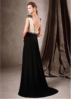 Amazing Chiffon Bateau Neckline A-Line Evening Dresses With Beads