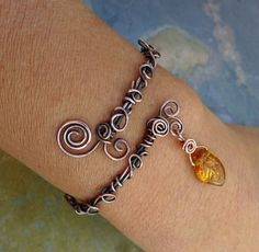 Wire Wrpped Antiqued Copper Bracelet Adjustable  by SunVDesigns