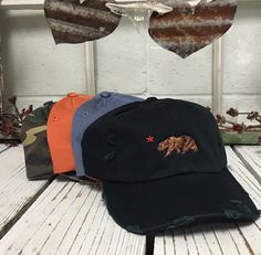 Cali Bear Hat Distressed Baseball Cap California Republic Bear Dad Hats Baseball Hat Embroidery by TheHatConnection on Etsy https://www.etsy.com/listing/491540499/cali-bear-hat-distressed-baseball-cap