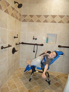 How we remodeled our bathroom to make it accessible. Disabled Bathroom, Handicap Bathroom, Shower Remodel, Bath Remodel, Restroom Remodel, Chariot Courses, Wet Room Bathroom, Bathroom Ideas, Lowes Bathroom