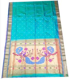 Sea green Pure Silk Paithani saree with Fancy Peacock Pallu - KP06201603