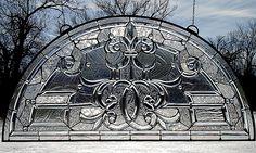 Fleur de Lis Arch of Ice Beveled Glass Window TU24
