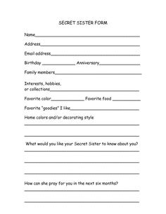 secret sister questionnaire form - Google Search