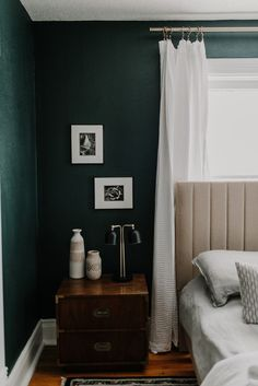 Our Cozy, Black Evergreen Spare Bedroom with an Office Nook - Miranda Schroeder Green Bedroom Walls, Green Master Bedroom, Bedroom Wall Colors, Bedroom Color Schemes, Room Ideas Bedroom, Green Bedrooms, Dark Cozy Bedroom, Spare Bedroom Decor, Green Bedroom Colors