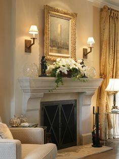 Check out this Fireplace mantle and surround design, sconces. Stone mantel traditional french country The post Fireplace mantle and surround d . Cast Stone Fireplace, Stone Mantel, Home Fireplace, Faux Fireplace, Fireplace Surrounds, Fireplace Design, Fireplace Ideas, Bedroom Fireplace, Limestone Fireplace