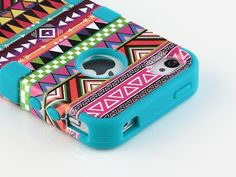Colorful Aztec Print iPhone Case -- trying to decide if I should get an iPhone or a Galaxy for my next phone..I might just get an iPhone for this case.
