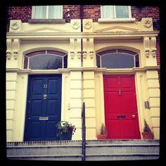 Colorful doors Front Doors, Garage Doors, Dublin Hotels, Castle, Colorful, Places, Outdoor Decor, Home Decor, Entry Doors