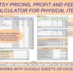 Pricing Calculator shop management Tool Etsy Sellers handmade | Etsy Price Calculator, Cost Of Goods Sold, Business Planner, Printable Planner, Marketing And Advertising, Etsy Seller, Templates, Google Account, Price List