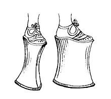 A chopine is a type of women's platform shoe that was popular in the 15th, 16th and 17th centuries. Chopines were originally used as a patten, clog, or overshoe to protect the shoes and dress from mud and street soil.