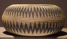 Mono Lake Paiute Globular Bowl | Tight zigzag bands resembling lightning encircle body of basket