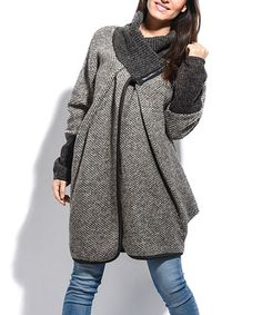 Loving this Taupe Wool-Blend High-Collar Jacket on #zulily! #zulilyfinds