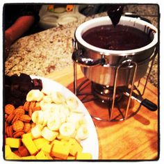 "Rumbly In My Tumbly: ""Melting Pot"" Chocolate Peanut Butter Fondue. Perfect party treat!"