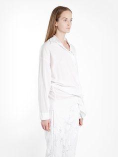 ANN DEMEULEMEESTER ANN DEMEULEMEESTER WOMEN'S WHITE  ASYMMETRIC SHIRT. #anndemeulemeester #cloth #