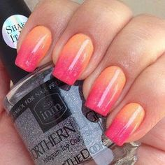 Love the colors nail art for girls, orange nail designs, sunset nails, fire Coral Ombre Nails, Ombre Nail Polish, Orange Nails, Peach Nails, Orange Nail Designs, Ombre Nail Designs, Nail Art For Girls, Sunset Nails, Rose Orange