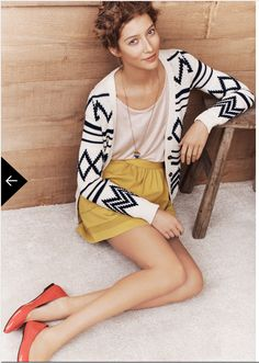 love the graphic cardigan styled with mustard yellow // madewell