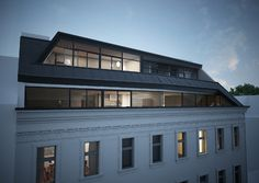 Dachgeschoss - Dachform Post Modern Architecture, Facade Architecture, Residential Architecture, Building Extension, Roof Extension, Dormer Loft Conversion, Mansard Roof, Neoclassical Architecture, Apartment Projects