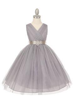 Silver+Tulle+V-Neck+with+Removable+Sash+Flower+Girl+Dress+CC-1220ST-SV+on+www.GirlsDressLine.Com