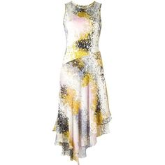 Diane Von Furstenberg abstract print asymmetric dress (655 NZD) ❤ liked on Polyvore featuring dresses, multicolor, white day dress, multi colored dress, abstract dress, white asymmetrical dress and abstract print dress