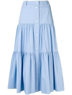 Light blue stretch poplin flounced skirt from REDValentino featuring a high waist, a waistband with belt loops, a front button fastening and a tiered design. Cute Skirt Outfits, Cute Skirts, Girl Fashion, Fashion Dresses, Fashion Design, Nice Dresses, Summer Dresses, Vintage Skirt, Bollywood Fashion