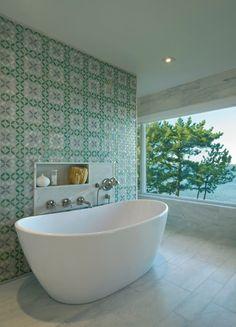 Contemporary Hamptons house bath. David Howell Design. Hydraulic tiles wall.