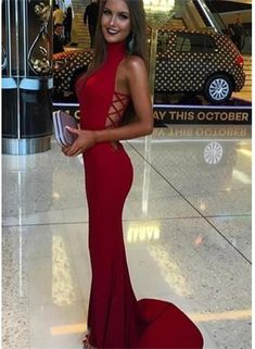 Mermaid Sexy Sweep-Train Sleeveless Red High-Neck Prom Dress