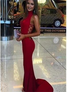 Mermaid Sexy Sweep-Train Sleeveless Red High-Neck Prom Dress