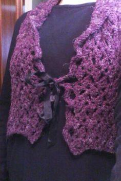 chaleco violeta en crochet ganchillo  lana ganchillo