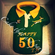 Brithday Cake, 9th Birthday Parties, Themed Birthday Cakes, Birthday Box, Birthday Ideas, Rugby Cake, South African Rugby, Shirt Cake, Food Cakes