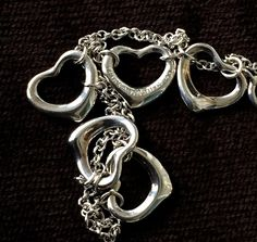 Tiffany silver bracelet,  Elsa Peretti open heart bracelet, ladies sterling silver bracelet, vintage silver bracelet, Tiffany and Co by TwoSwansSwimming on Etsy