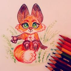 happy Sunday !🐾 i decided to color my doodle for once muahah! i have no confidence to color traditionally but... practice, practice .. xP #sketch #art #fox #doodle #drawing #illustration #2d #animalart  #characterdesign #kidlitart #girlsinanimation #prismacoloredpencils #charactersketch