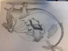 7.Dit is mijn tekening en de draak heb ik af gemaakt er moet nog wel wat aan gebeuren. De achtergrond moet ik ook nog maken maar ik weet nog noet precies wat ik wil maken.