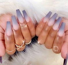 Ombre Nails - 50 Gorgeous Ombre Matte Nail Designs You Will Love Faded Nails, Dope Nails, My Nails, French Fade Nails, Vegas Nails, Grey Acrylic Nails, Pink Ombre Nails, Umbre Nails, Grey Matte Nails