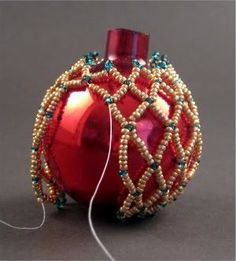 Netted Bead Ornament Pattern | Easy Beaded Ornament Cover Create a Simple Netted Christmas Ornament