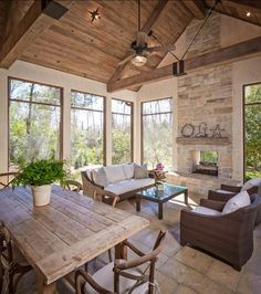 Screened Patio Ideas-I'd paint or white wash ceiling & beams for a lighter look