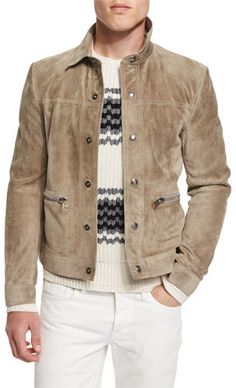 TOM FORD Cashmere Suede Trucker Jacket w/Zip Pockets, Tan