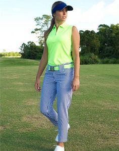 1c7ea29622205 JoFit Ladies   Plus Size Golf Outfits (Shirt   Pants) - Kona (Neon Green    Blue Depth)