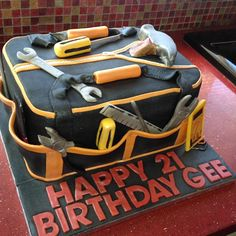Electricians Tool Bag Cake with edible tools