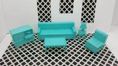 Eagle Toy Canada Living room Doll house furniture Rare Aqua blue sofa chair tables tv lamp #dollhouseminiatures #minimalscratch