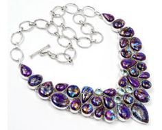 Stunning 925 sterling silver Purple Copper Turquoise And Blue Topaz Gemstone Cluster Necklace