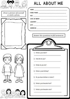 Enjoy Teaching English: ALL ABOUT ME (worksheet)