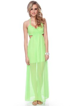 I love this sheer lime sherbet maxi from Tobi!