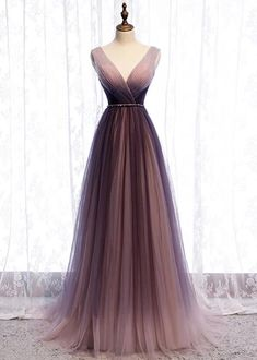 2020 Spring Long V Neck A Line Dress Halter Beaded Evening Dress from Sweetheart Dress Cheap Prom Dresses by SweetheartDress · 2020 Spring Long V Neck A Line Dress Halter Beaded Evening Dress Ombre Prom Dresses, Pretty Prom Dresses, Tulle Prom Dress, Cheap Prom Dresses, Ball Dresses, Cute Dresses, Beautiful Dresses, Ball Gowns, Bridesmaid Dresses