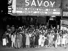 "The Savoy Ballroom | Harlem, New York Located in the heart of Harlem, the Savoy Ballroom was a popular dance venue from the late 1920s to the 1950s and many dances such as Lindy Hop became famous here. It was known downtown as the ""Home of Happy Feet"" but uptown, in Harlem, as ""the Track"". Unlike the 'whites only' policy of the Cotton Club, the Savoy Ballroom was integrated and whites and blacks danced together. Source: Wikipedia"