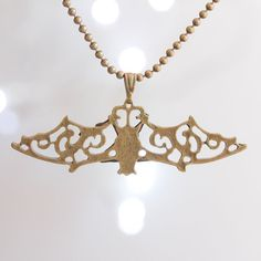 Hanging bat filigree  bronze necklace dangle goth by colourharmony, $6.00