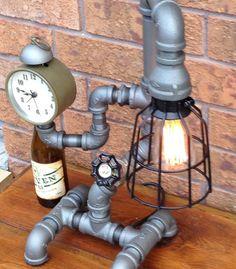 Item 130 Industrial Pipe Lamp Black Pipe by LamplighterIronworks
